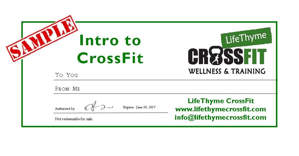 Gift Certificates Life Thyme Crossfit